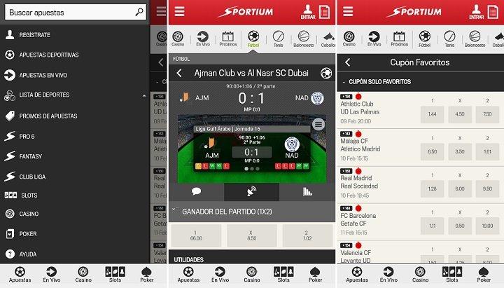App deportiva de Sportium para Android