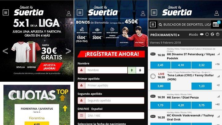 revisión de la app de Android de Suertia