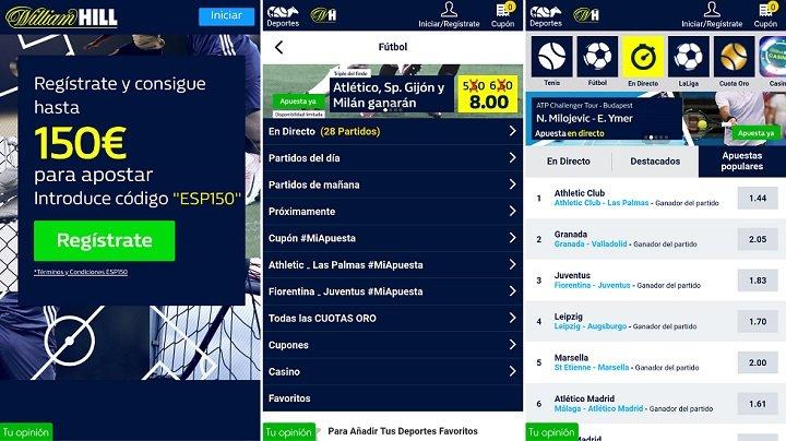 Usando la aplicación de William Hill en España