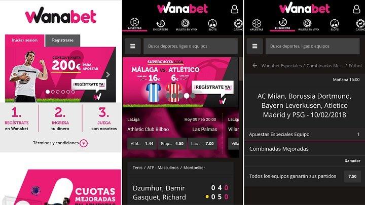 App deportiva de wanabet para Android
